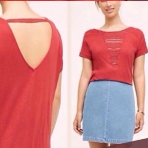 NWT Anthropologie Tiny Crochet Open Back Top Tee